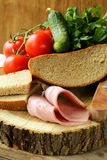 Still life picnic - ham, bread Royalty Free Stock Image