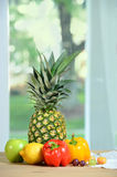 Still Life with Pineapple. On table royalty free stock photography