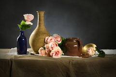 Still Life with Pink Roses. Still life with vases and pink roses royalty free stock image