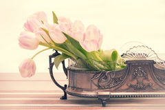 Still life with pink tulip bouquet Stock Images