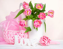 Still life with pink tulips Stock Photography