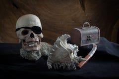 Still life of pirates and treasure Stock Photo