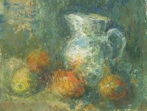 Still life with pitcher and fruit stock illustration