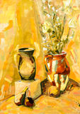 Still-life plant yellow rose cup fine art painting Stock Images