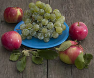 Still life plate of grapes and four apples Stock Photography