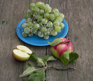 Still life a plate with grapes and two apples on a table Royalty Free Stock Images