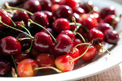 Still Life with a plate of ripe cherries closeup Royalty Free Stock Photo