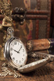 Still life with pocket watch. Still life with vintage pocket watch Stock Photography
