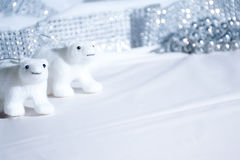 Polar bear decorations in white Christmas scene Royalty Free Stock Photos