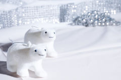 Plar bear decorations in a white Christmas scene Stock Photos