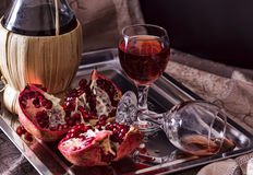 Still life with pomegranates Stock Images