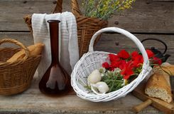 Still life with poppies and bread Stock Photos