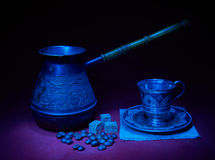 Still life with pots, metal cup of coffee Royalty Free Stock Image