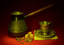 Still life with pots, metal cup of coffee Stock Photo