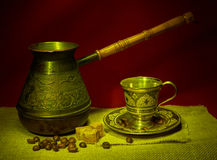 Still life with pots, metal cup of coffee Royalty Free Stock Photos