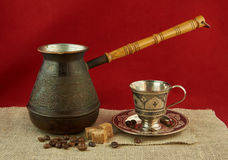 Still life with pots, metal cup of coffee Royalty Free Stock Images