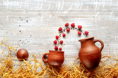 Still life pottery - country style with berries Stock Images