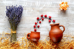 Still life pottery and lavender - country style with berries Stock Photography