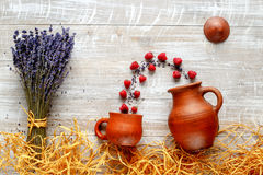 Still life pottery and lavender - country style with berries Royalty Free Stock Images