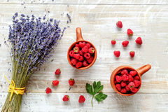 Still life pottery and lavender - country style with berries Stock Photos