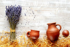 Still life pottery and lavender - country style Royalty Free Stock Images