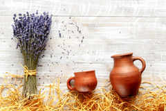 Still life pottery and lavender - country style Stock Image