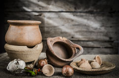 Still life pottery and wooden background Stock Images