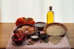 Still life prepared for paella Valenciana Stock Image