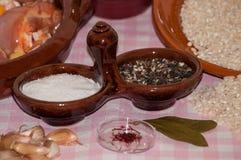 Still life prepared for paella Valenciana Royalty Free Stock Image