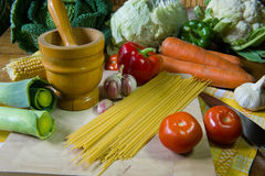 Still life preparing pasta Royalty Free Stock Photos