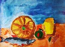 Still life with pumkin and fish painted by child. Gouache painting of a still life including a pumkin, a fish, an apple, a jug, and a little branch of rowan stock illustration