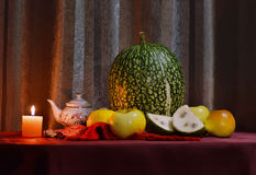 Still life with pumpkin and fruit Royalty Free Stock Photo