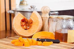 Still life of  pumpkin   and honey Stock Photography