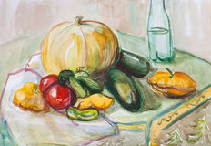 Still- ife with a pumpkin. Still life with a pumpkin and other vegetables Stock Image