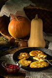 Still life with pumpkin and pancakes in village royalty free stock photo
