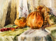 Still life with pumpkin and pears. Watercolor. Royalty Free Stock Photos