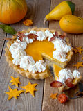 Still life with pumpkin pie2 stock photos