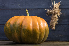 Still-life pumpkin and voodoo doll Royalty Free Stock Photography