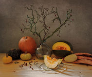 Still Life with pumpkins. A bottle with branches and berries, with a knife, a plate with slices, woven cloth on a light table royalty free stock photos