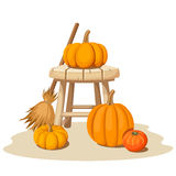 Still life with pumpkins and a wooden stool. Vector illustration. Royalty Free Stock Photos