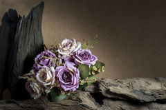 Still life with purple roses and timber Stock Images