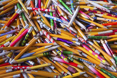 Still Life of a Random Array of Well-Used Brightly Colored Writing Pencils Royalty Free Stock Image