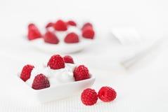 Still life with raspberry sour cream dessert Stock Photo