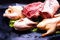 Still life - raw chicken and meat Royalty Free Stock Images