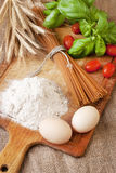 Still life with raw homemade pasta and ingredients for pasta. Royalty Free Stock Photography