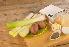 Ingredients for a leek soup Stock Photography