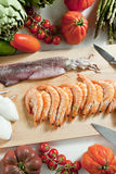 Still life of raw seafood royalty free stock photo