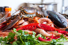 Still life with  raw seafoods Stock Image
