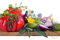 Still Life with raw vegetables isolated on w. Hite Stock Photos