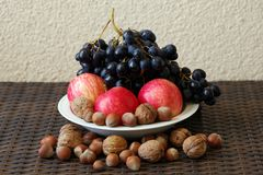 Still life of red apples, blue grapes and nuts. royalty free stock image